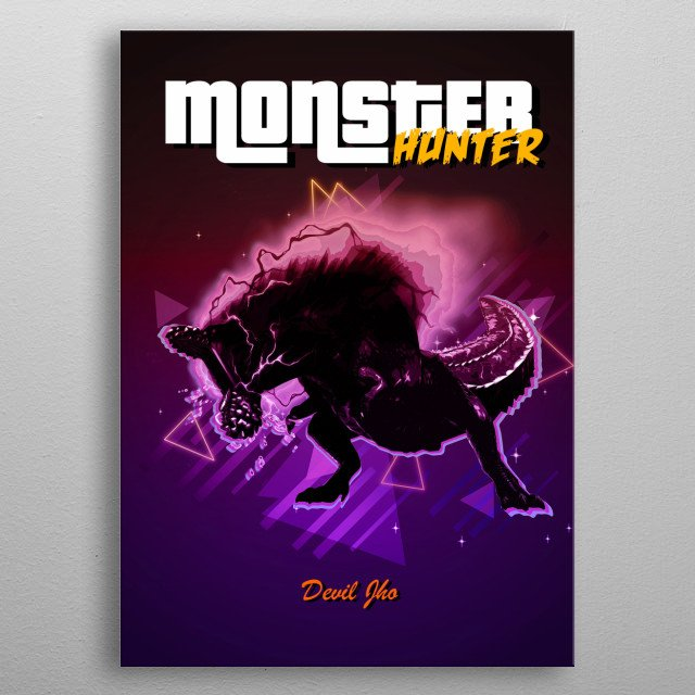 Monster Hunter DevilJho retro metal poster