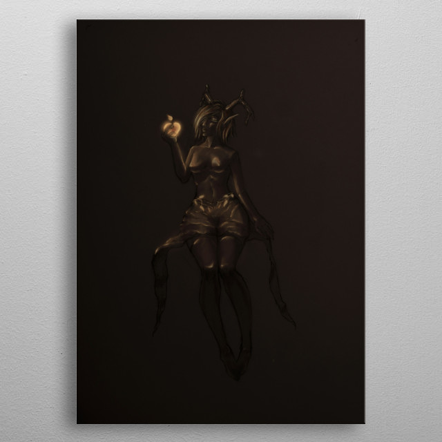 A horned elf who's in possession of a golden apple that emits light. metal poster
