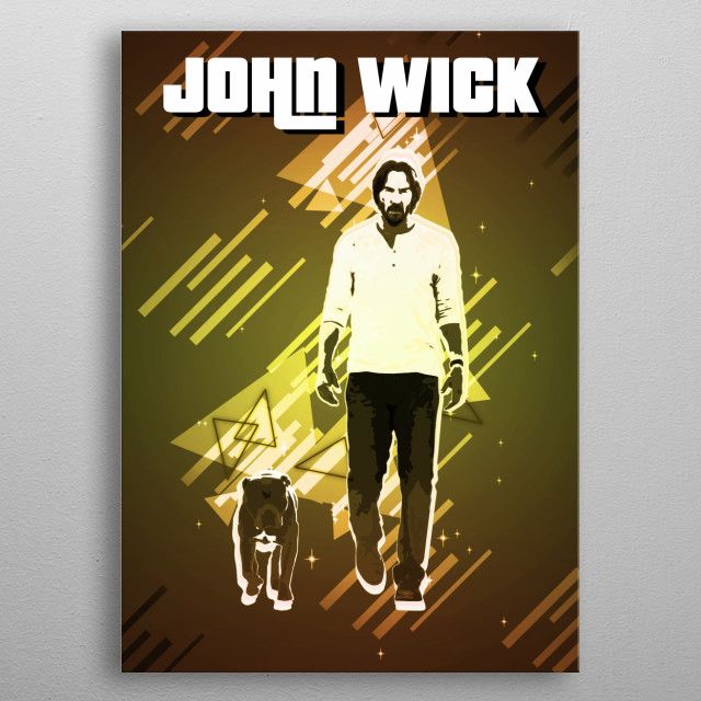 John Wick with Retro effects metal poster