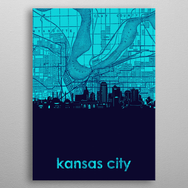 Kansas city skyline inspired by decorative,vintage,turquoise,cartography,pop art design metal poster