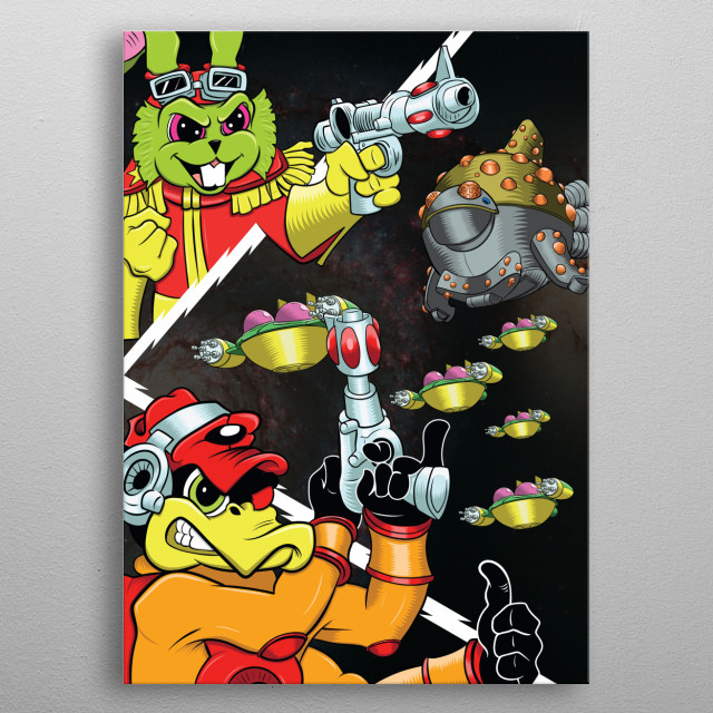 Inspired by the classic cartoon, Bucky O'Hare, this piece shows Bucky and Deadeye at their finest with the Toad ships bound for battle! metal poster