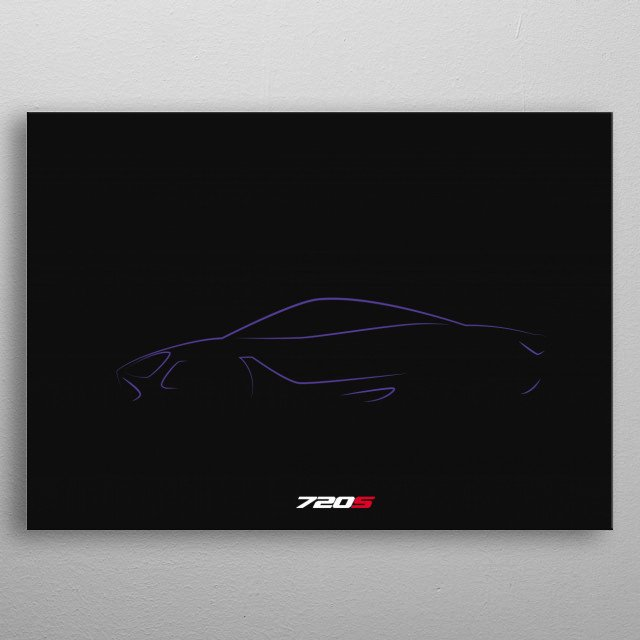 Minimalistic shapes of the Mclaren 720 S metal poster