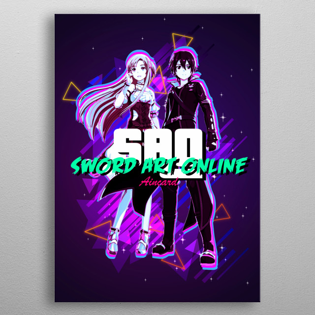 Sword Art Online Kirito and Asuna with retro effects metal poster