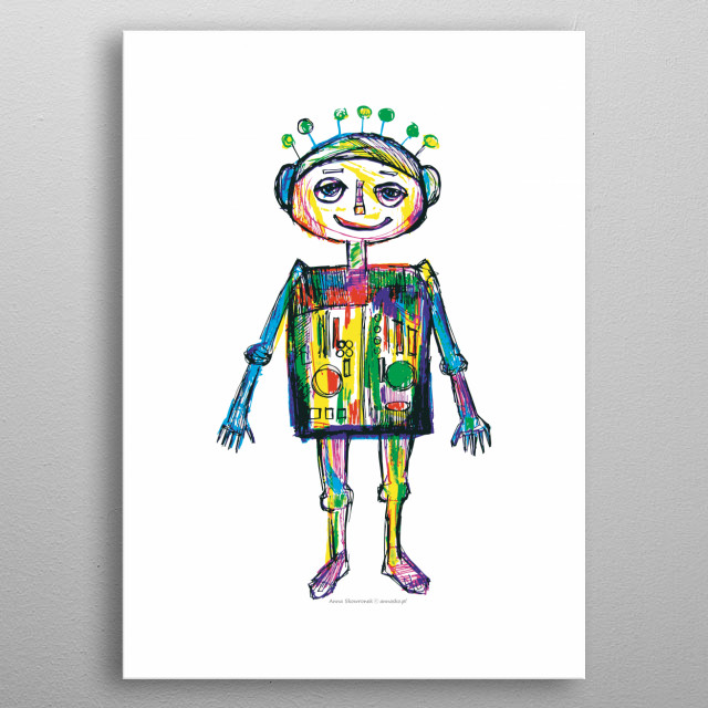 Colourfull funny illustration of little robot, funny drawing, great design for boy's room, for kid's room. All rights reserved. metal poster