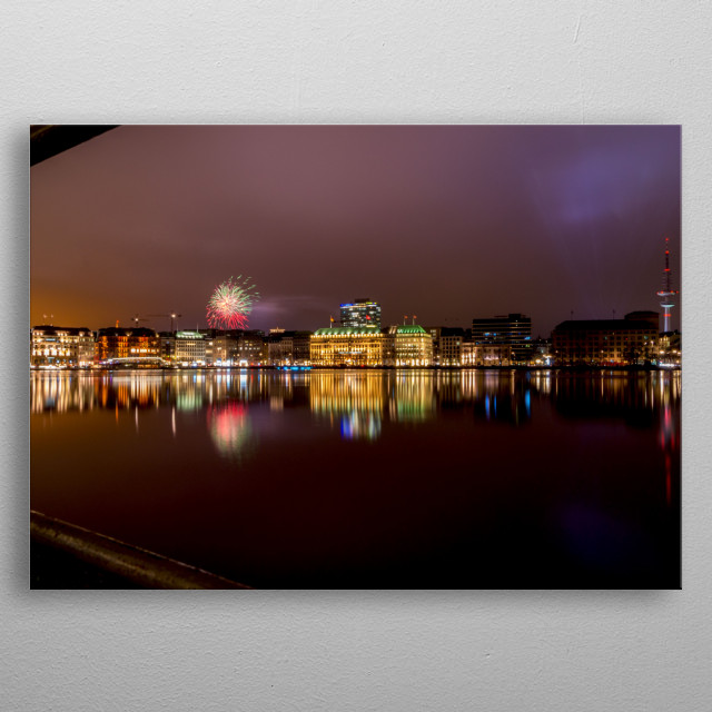 Shot at the Jungfernstieg whilst Firework from the Hamburger Dom explodes. metal poster