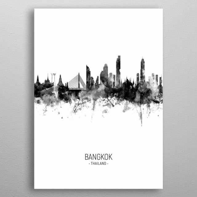 Watercolor art print of the skyline of Bangkok, Thailand metal poster