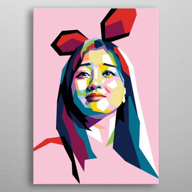 Jihyo twice in wpap modern pop art style. Korean girl  metal poster