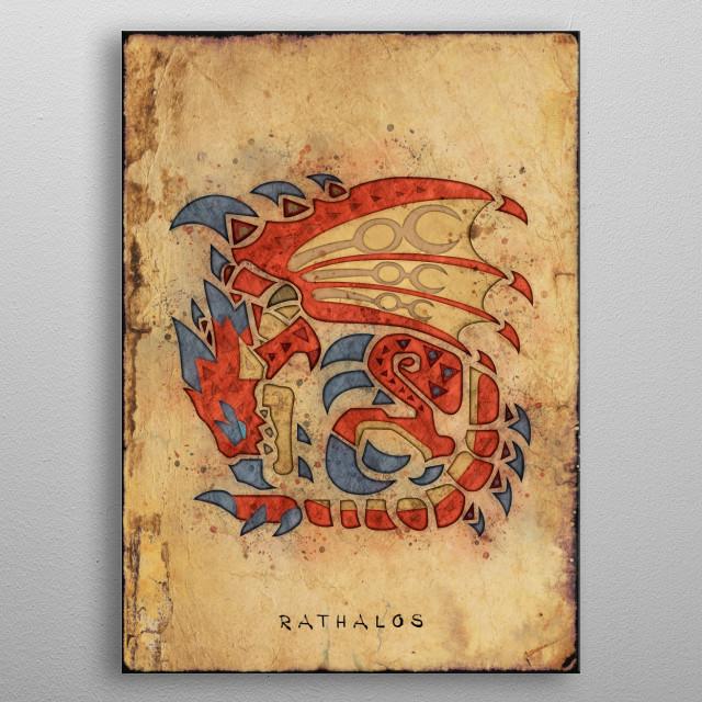Monster Hunter World - Rathalos Hunter's Notes Poster. metal poster
