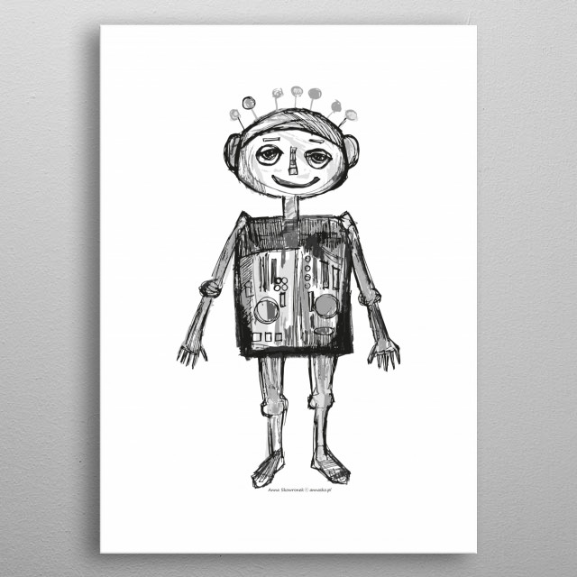 Funny drawing of little robot, awesome design for kid's room. metal poster