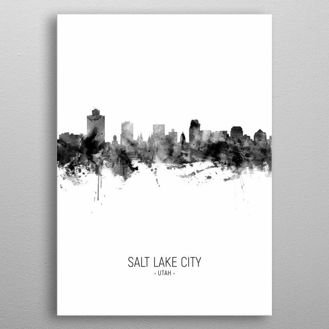 Watercolor art print of the skyline of Salt Lake City, Utah, United States metal poster