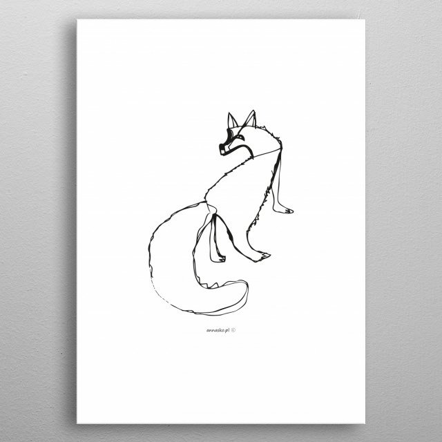 Minimalistic sketch of fox, scandinavian style, modern design, white-black drawing.  All rights reserved. metal poster
