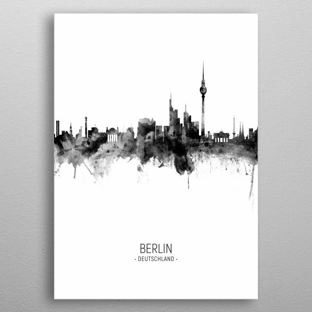 Watercolor art print of the skyline of Berlin, Germany metal poster