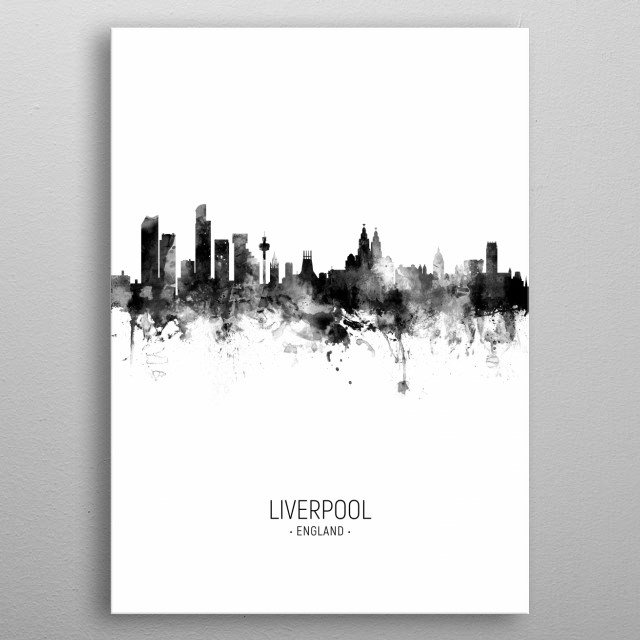 Watercolor art print of the skyline of Liverpool, England metal poster