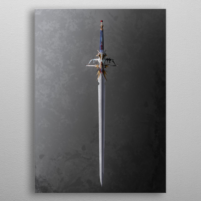 Custom-Made Sword Inspired by anime fantasy movie with elegant ornaments,  Red = Holy Spirit, White = Purity  Blue = Hope  Gold = Precious metal poster