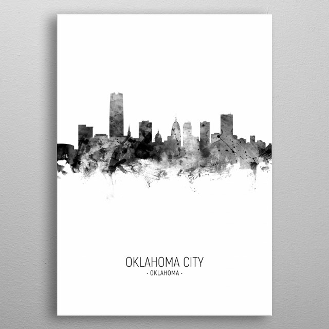 Watercolor art print of the skyline of Oklahoma City, United States metal poster