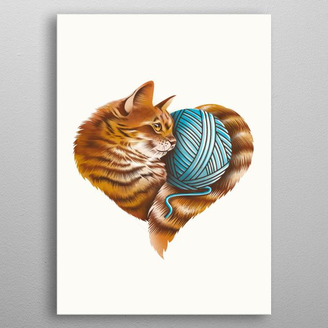 Heart Cat metal poster