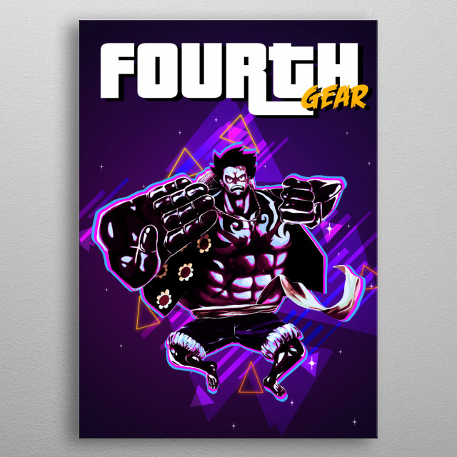 Fourth Gear with retro effects metal poster