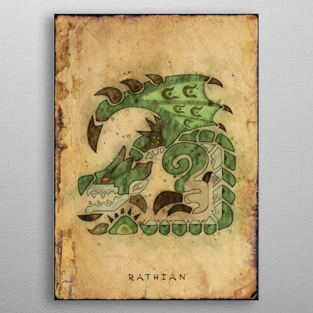 Monster Hunter World - Rathian Hunter's Notes Poster. metal poster