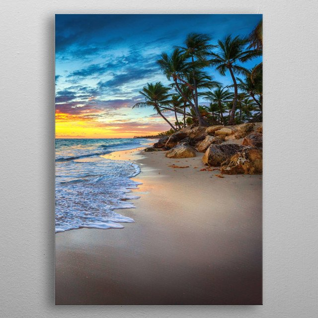 Nice beach while the sun is going down metal poster