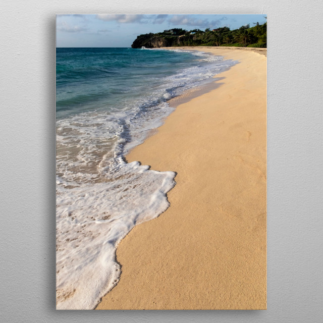 Early morning deserted beach at Foul Bay East Coast Barbados exotic destination metal poster