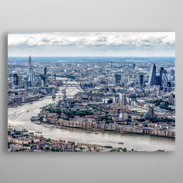 London, the capital of England and the United Kingdom, is a 21st-century city with history stretching back to Roman times. At its centre sta metal poster