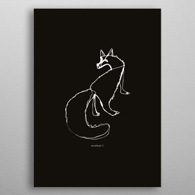 Minimalistic sketch, fox illustration, black and white drawing, design. All rights reserved. metal poster