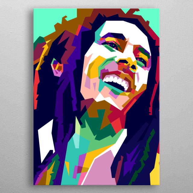 Bob Marley Design Illustration in WPAP Style metal poster
