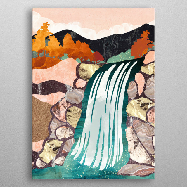 Abstract landscape of a waterfall in autumn with gold, aqua, coral and blue metal poster