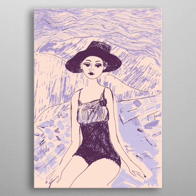 Girl on the beach illustration, colourfull decorative drawing, vintage style. All rights reserved. metal poster