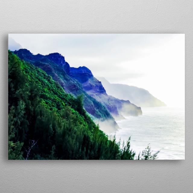 green mountain with ocean view at Kauai, Hawaii, USA metal poster