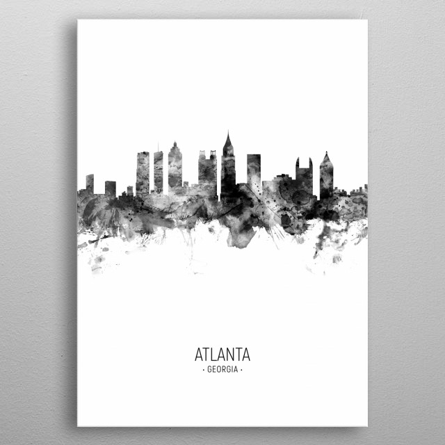 Watercolor art print of the skyline of Atlanta, Georgia, United States metal poster