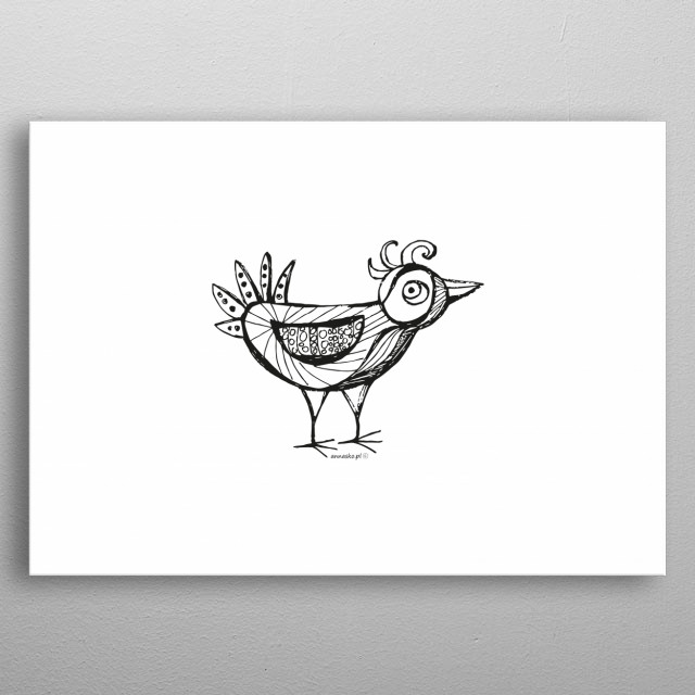 Cute illustration of the bird, white-black drawing, awesome minimalistic design. All rights reserved. metal poster
