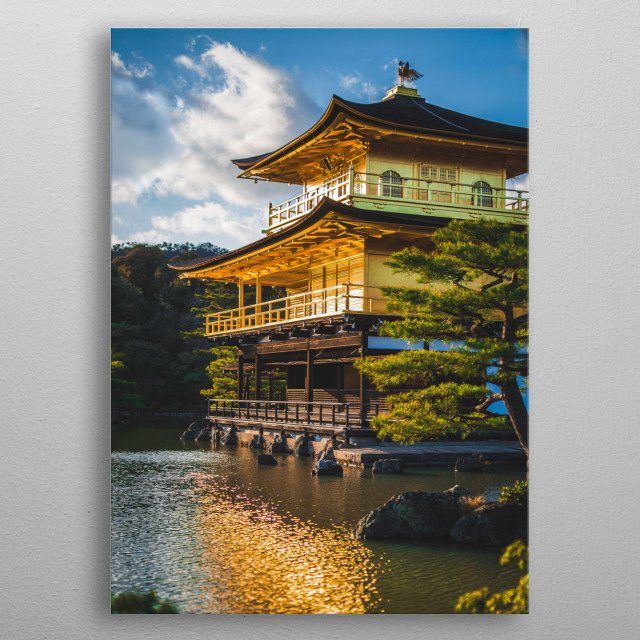 Kinkaku-ji, The Temple of the Golden Pavillion, Kyoto, Japan. A gorgeous sunset on one of Japan's most famous buildings metal poster