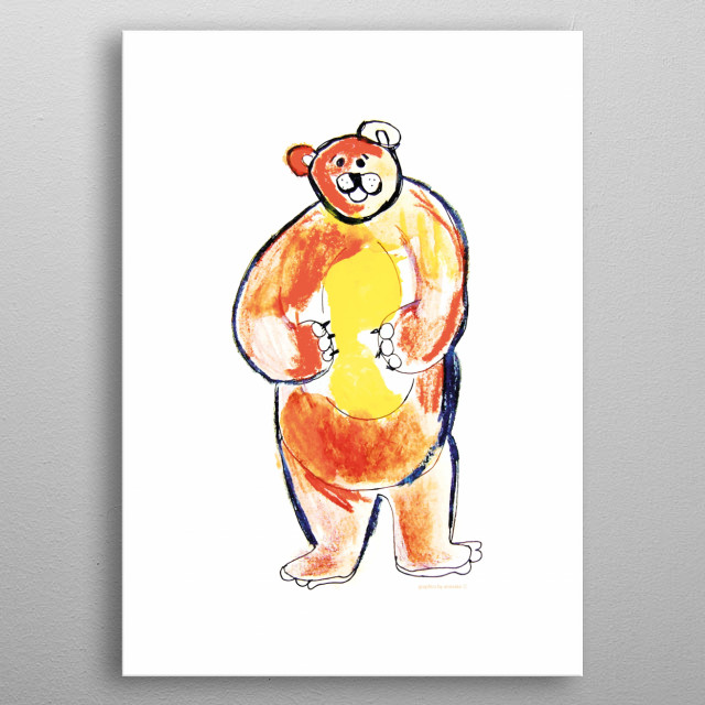 Funny illustration of a bear, cute picture for children's room. Design for a girl or for a boy. All rights reserved. metal poster