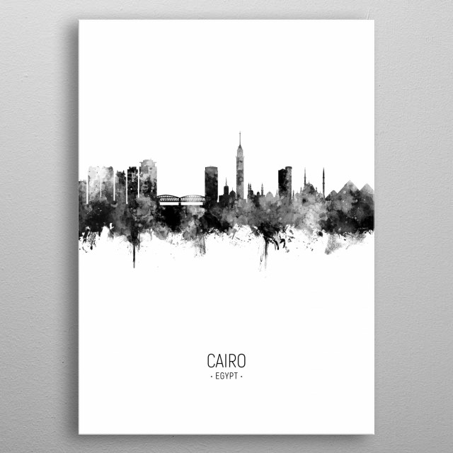 Watercolor art print of the skyline of Cairo, Egypt metal poster