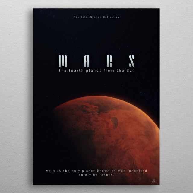 """Mars, a part of """"The Solar System Collection"""". metal poster"""