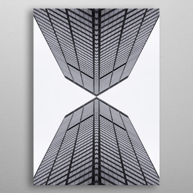 Using symmetry to create an abstract image of surreal architecture. metal poster