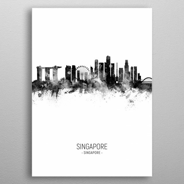 Watercolor art print of the skyline of Singapore metal poster