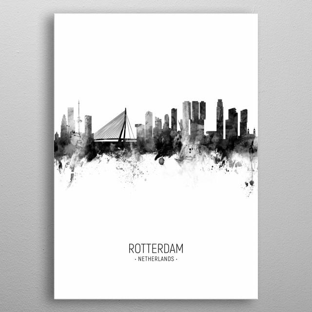 Watercolor art print of the skyline of Rotterdam, The Netherlands metal poster