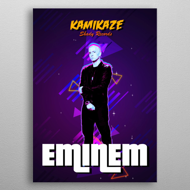 Kamikaze Eminem 2018 album with retro effects metal poster