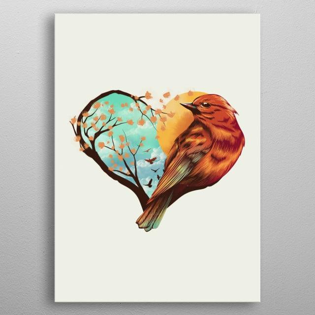 Love Bird metal poster