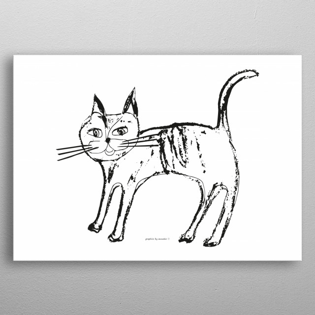 White and black drawing of a cat, pretty illustration, minimalistic design for children's room. All rights reserved. metal poster