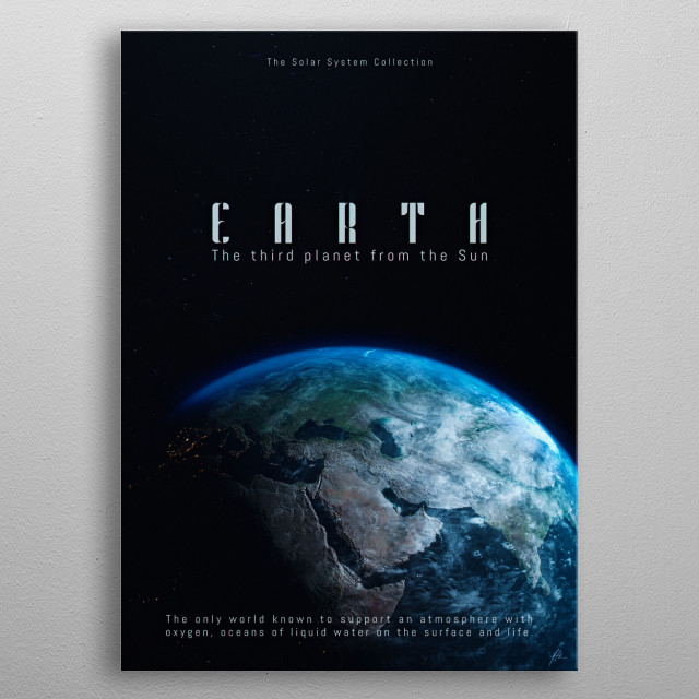 """Earth, a part of """"The Solar System Collection"""". metal poster"""
