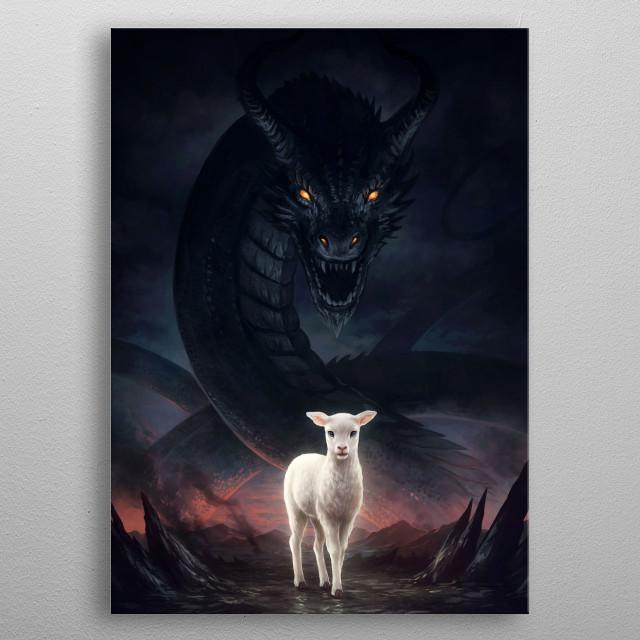 Illustration of a dragon and a lamb, representing Satan and Jesus Christ. metal poster