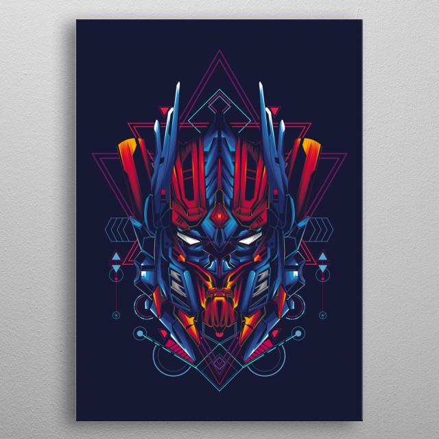 Mecha sacred geometry theme metal poster