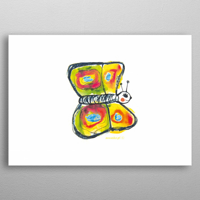 Colourfull, cute illustration for kids, butterfly painting. Funny design for kid's room. All rights reserved. metal poster