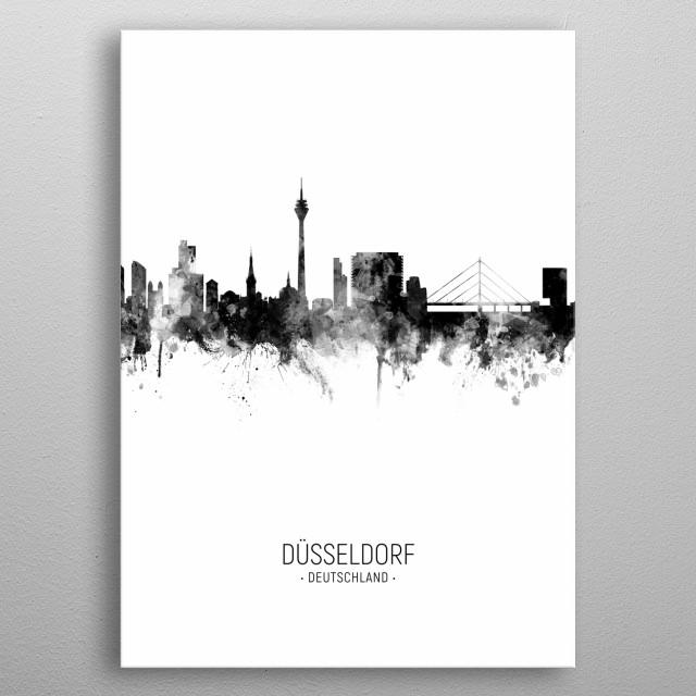 Watercolor art print of the skyline of Düsseldorf, Germany  metal poster