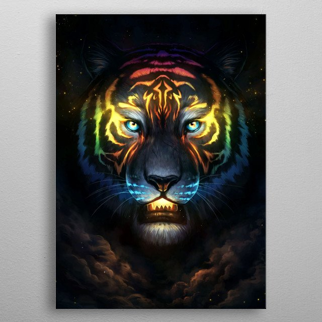 Illustration of a tiger with coloured stripes. metal poster
