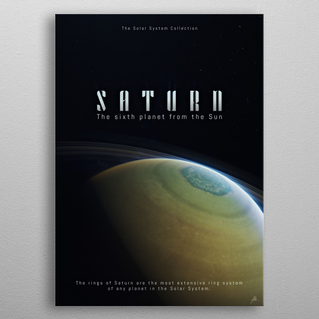 """Saturn, a part of """"The Solar System Collection"""". metal poster"""
