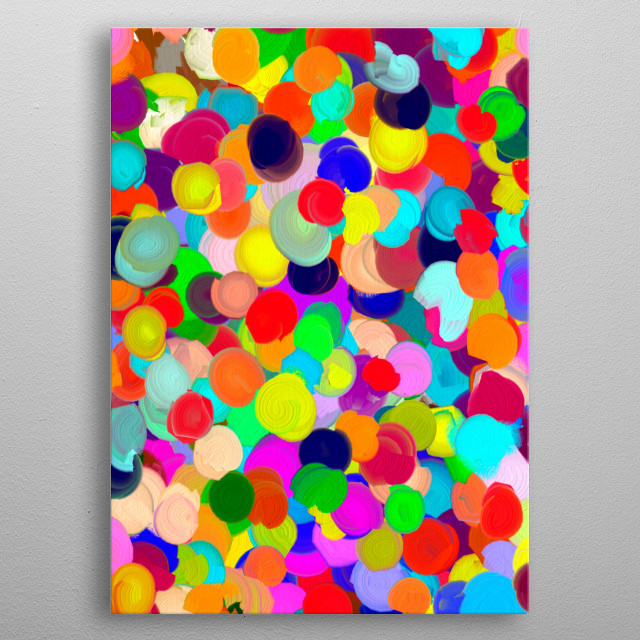Abstract digital painting. Very colourful representation of a large crowd of people. metal poster
